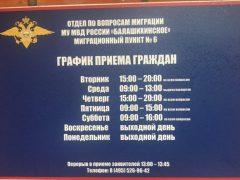 Миграционный пункт № 6 ОВМ МУ МВД РФ Балашихинское