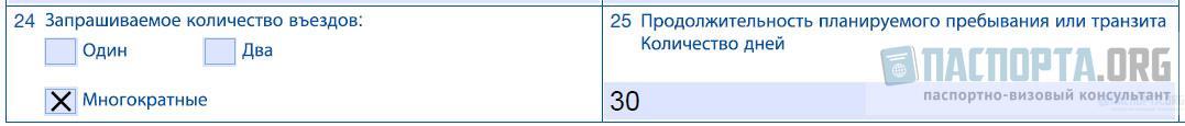 Образец заполнения анкеты на шенгенскую визу - Шаг 24, 25